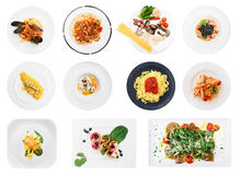 Set of pasta and ravioli dishes isolated on white Stock Photos