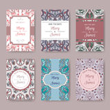 Set of pastel card templates with ethnic patterns Royalty Free Stock Photography