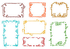 Set of pastel color ethnic frames. Crayon chalk hand drawn patterned background. Stock Photos