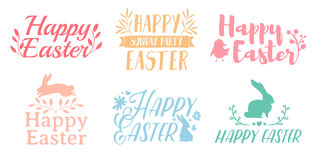 Set Pastel Color Logo For Easter. Badges For The Spring Holiday Of Easter. The Design Of Label With A Decor Of Flower Royalty Free Stock Images