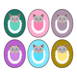 Set of pastel colors kitten heads with bibs - design for goods marking Stock Photos