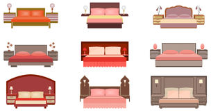 Set of pastel colors nine bed collection with bedside tables, lamps and headboards. Stock Photos