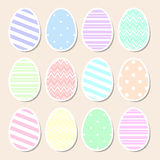 Set of pastel Easter eggs Stock Photos