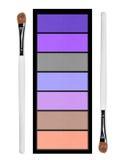Set of pastel eyeshadows and brush isolated on white Royalty Free Stock Photography