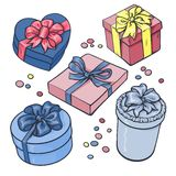 Set of pastel gift boxes with bows and ribbons Royalty Free Stock Photography