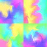 Set of 4 pastel rainbow backgrounds, hologram inspired abstract. Backdrops vector illustration