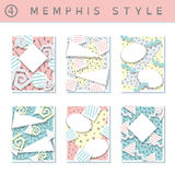Set of  pastel 80`s banners. 6 pastel colored memphis style covers with geometric shapes. US Letter size. Easily croppable to A4 size. Graphics are grouped and Royalty Free Stock Image