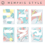 Set of  pastel 80`s banners. 6 pastel colored memphis style covers with geometric shapes. US Letter size. Easily croppable to A4 size. Graphics are grouped and Royalty Free Stock Photo