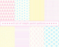 Set pastel seamless patterns. Gentle, simple, concise patterns. Pastel colors, pink, blue, yellow pattern. Royalty Free Stock Images