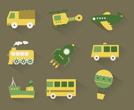 Set of pastel transport icons Royalty Free Stock Image