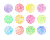 Set of pastel watercolor circles. Watercolor design elements isolated on white background royalty free illustration