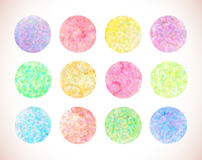 Set of pastel watercolor vector circles. Watercolor design elements isolated on white background stock illustration