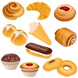 Set of pastry isolated on white Royalty Free Stock Image