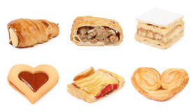 Set of pastry  isolated on white Stock Photos