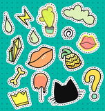 Set patch badges. Cartoon patches collection Royalty Free Stock Photos