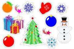 Set patch of Christmas stickers. Cartoon funny pop art stickers. Modern doodle sketch. Isolated on white background. Vector. Illustration Royalty Free Stock Photo