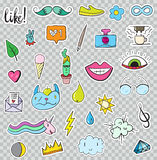 Set of Patches Elements like Flower, Heart, Crown, Cloud, Lips, Stock Images