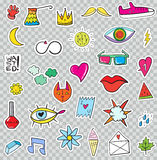 Set of Patches Elements like Flower, Heart, Crown, Cloud, Lips,. Mail, Diamond, Eyes. Hand Drawn Vector. Cute Fashionable Stickers Collection. Doodle Pop art Stock Images