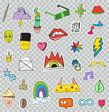 Set of Patches Elements like Flower, Heart, Crown, Cloud, Lips, Stock Image