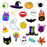 Set of patches for Halloween. A set of cute Halloween attributes. Halloween stickers design. patch icons pumpkin, hat, reduced, bat, black cat and other holiday Royalty Free Stock Image