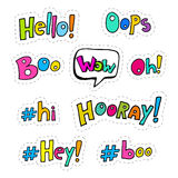 Set of patches with interjections Stock Images