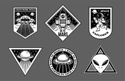 Set patches or sticker on space topic vector illustration