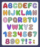 Set of patchwork alphabet and number symbols Stock Image
