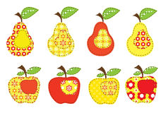 Set of patchwork apples and pears Royalty Free Stock Photo