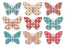 Set of patchwork butterflys 1. Stock Photo