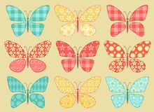 Set of patchwork butterflys 2. Royalty Free Stock Photo