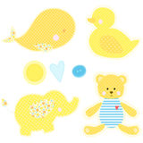 Set of patchwork cute toys. Whale, duckling, teddy bear and elephant  vector illustration. Nice template for baby shower, child album and scrapbook. Yellow and Stock Photo