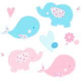Set of patchwork cute whales and elephants isolated vector illustration. Nice template for baby shower, child album and scrapbook. Pink and blue colors Stock Photography