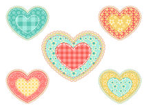 Set of  patchwork hearts. Stock Image