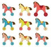 Set of patchwork horses 8. Stock Photos