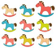 Set of patchwork horses 3. Stock Photo