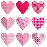 Set of patchwork vintage hearts in stitched textile style. Stock Image