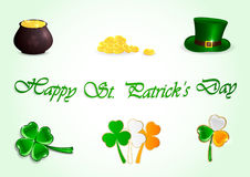 Set of Patricks day icons Stock Image