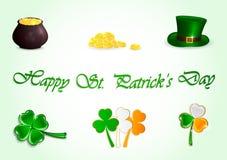 Set of Patricks day icons. On green background, illustration Stock Illustration