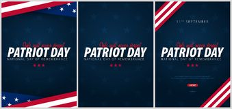 Set of Patriot day promotions, advertisings, posters, banners, templates with American flag. American patriot day wallpapers. Set of Patriot day promotions stock illustration