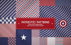 Set of patriotic american patterns with stars and stripes. Can be used for Memorial day, Independence day and political events. Set of patriotic american Stock Images