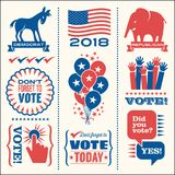 Set of patriotic vector elements to encourage voting. Set of patriotic design elements to encourage voting in United States elections. For web banners, cards Royalty Free Stock Photos