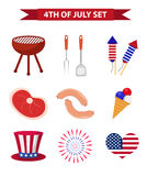Set of patriotic icons Independence Day of America. July 4th collection of design elements, isolated on white background. National celebration, barbecue, BBQ vector illustration