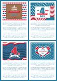 Set Patriotic US Posters 4th July Independence day. Set of patriotic US posters 4th July, happy Independence day, flag holiday symbols of USA, Washington Capitol stock illustration
