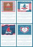 Set Patriotic US Posters 4th July Independence day. Set of patriotic US posters 4th July, happy Independence day, flag holiday symbols of USA, Washington Capitol stock illustration