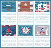 Set Patriotic US Posters 4th July Independence day. Set of patriotic US posters 4th July, happy Independence day, flag holiday symbols of USA, Statue of Liberty stock illustration