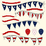 Set of patriotic vector elements. Set of patriotic Independence Day bunting, balloons and ribbons. American July 4th vector elements for banners Royalty Free Stock Image