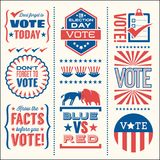 Set of patriotic vector elements to encourage voting. Set of patriotic design elements to encourage voting in United States elections. For web banners, cards Royalty Free Stock Photography