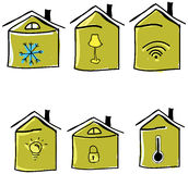 Set patroszeni domy również zwrócić corel ilustracji wektora Fotografia Royalty Free