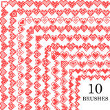 Set of pattern brushes. Embroidered hearts Stock Photography