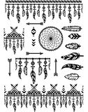 Set pattern brushes with feathers Royalty Free Stock Image